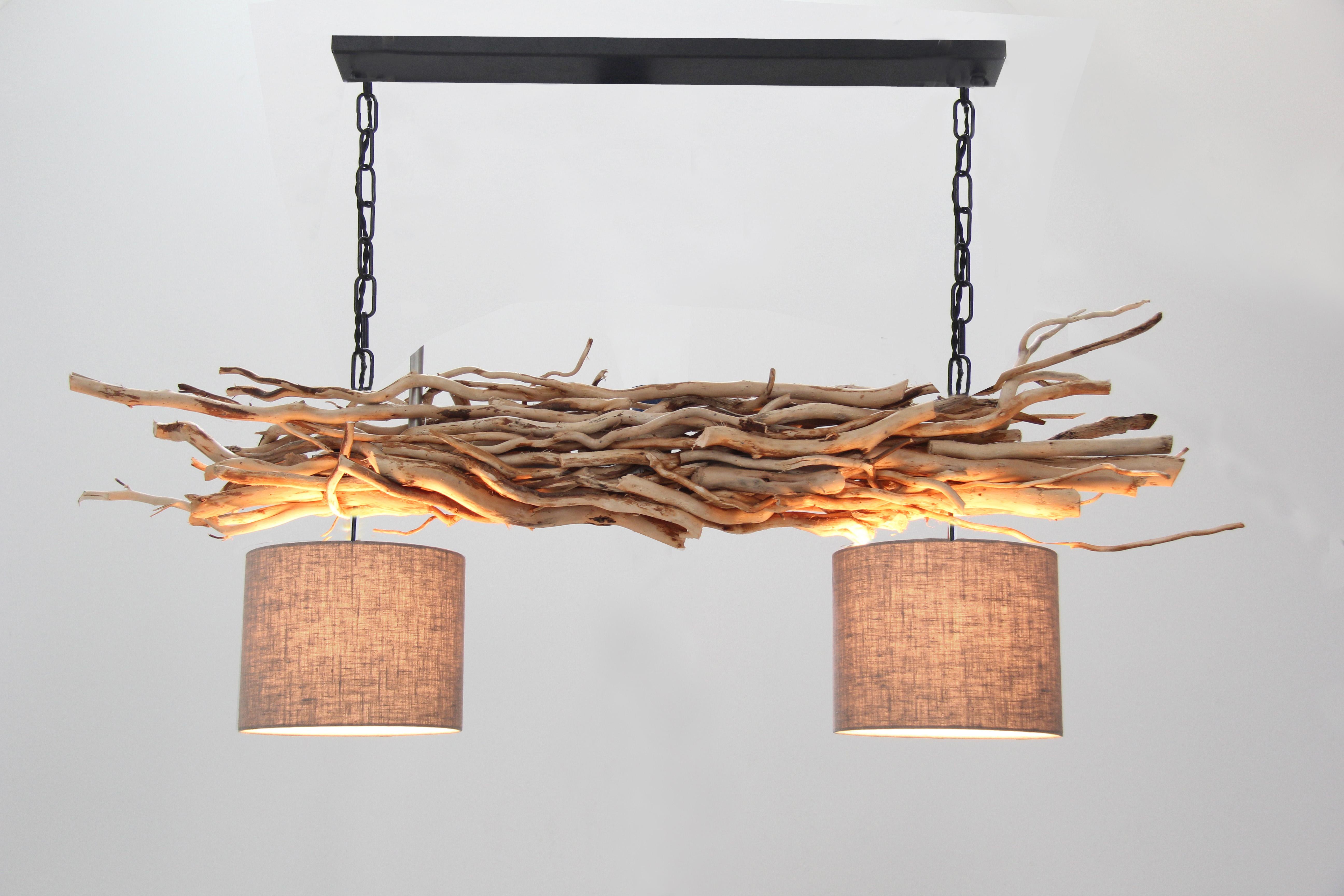Lampen Winkel Utrecht : Holz lampen hängeleuchte aus Ästen mit ketten flachslampenschirm