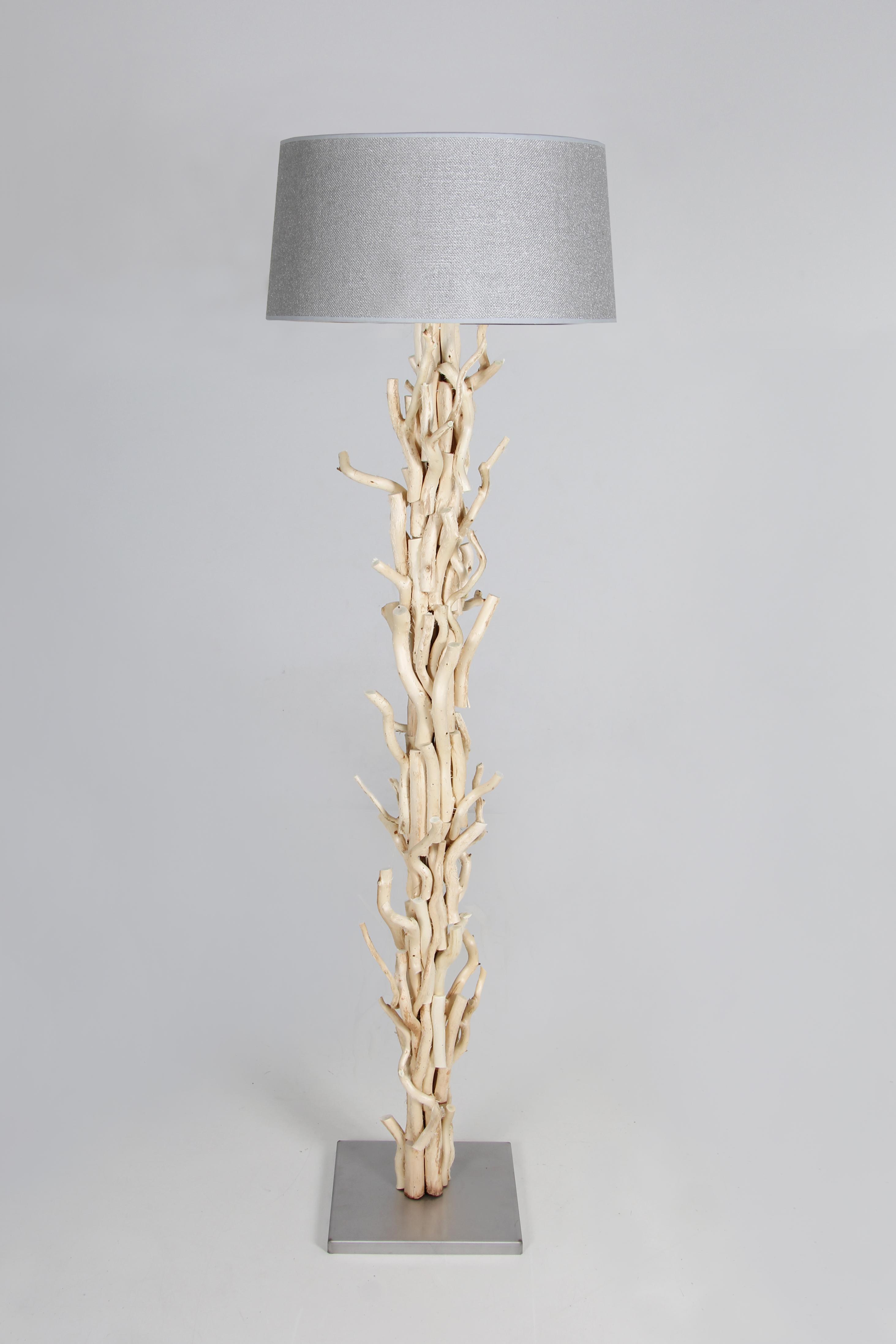 Brilliant Stehleuchte Silber Referenz Von Geschälte Gedrehten Aststücke, Lampenschirm Jute 170cm