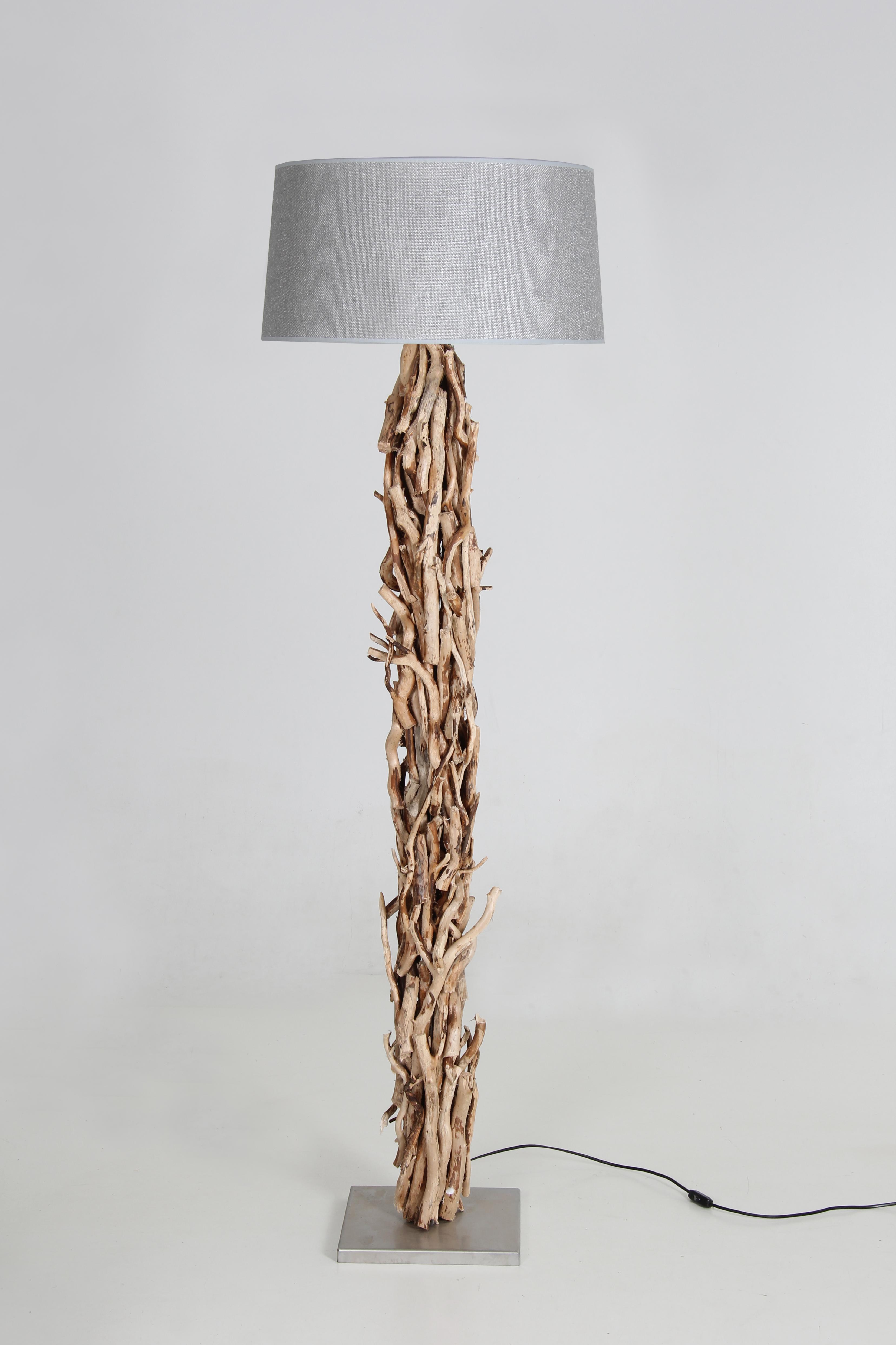 Bezaubernd Stehleuchte Silber Referenz Von Rustikal Geschälte Aststücke, Lampenschirm Jute 170 Cm
